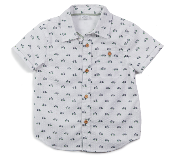 Egg Adrian Shirt White with Motorcycle Print