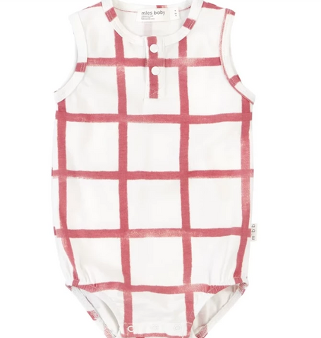 Miles Baby Farmers Market Baby Romper Off White with Red Check