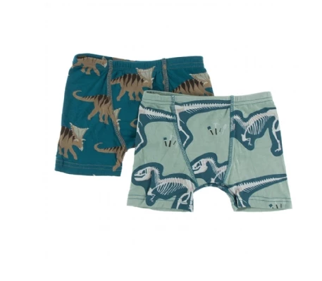 Kickee Pants Boxer Briefs Heritage Blue Kosmoceratops and Shore T-rex Dig