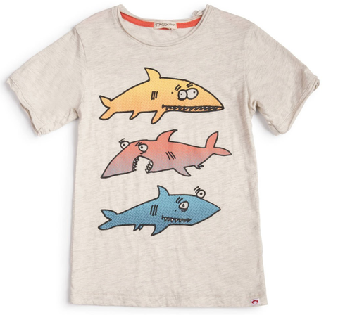 Appaman Short Sleeve Shark Tee Heather Grey