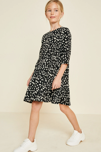 Hayden Asymmetrical Ruffle Dotted Swing Dress Black