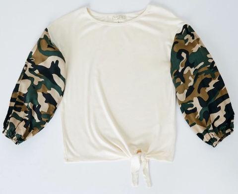 Hayden Camo Sleeve Top Almond