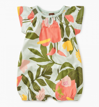 Tea Collection Printed Smocked Romper Tropical Garden