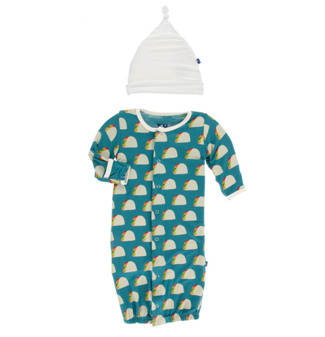 Kickee Pants Print Layette Gown Converter & Knot Hat Set (Seagrass Tacos)