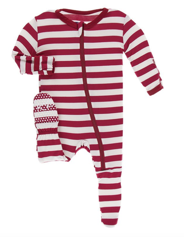 Kickee Pants Print Footie with Zipper (Candy Cane Stripe)