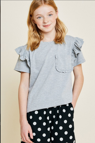 Hayden Heather Grey `Ruffle Sleeve Pocket Tee