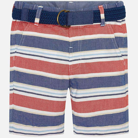 Mayoral Oxford Striped Party Stripe Shorts with Belt