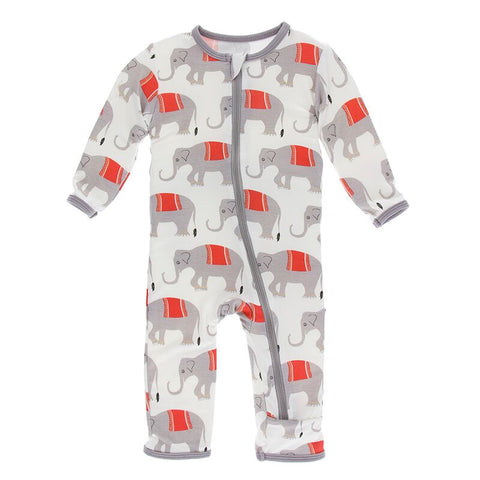 Kickee Pants Print Coverall with Zipper Natural Indian Elephant