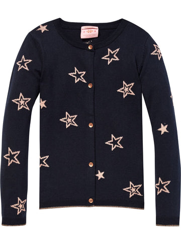 Scotch Shrunk Girls Cardigan with Allover Star Intarsia