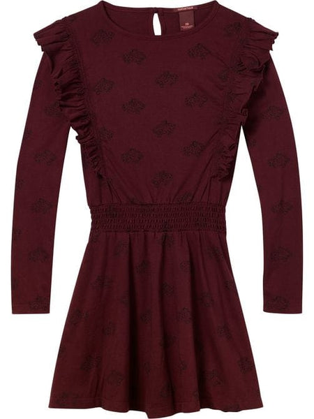 Scotch Shrunk  Allover Printed Dress with Ruffles Maroon with Cheetah