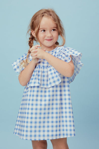 Love and Lemons Juliana Ruffle Dress Blue Gingham