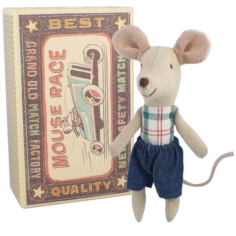 Maileg Mouse Little Brother in Denim Shorts