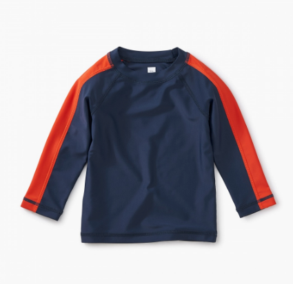 Tea Collection Sporty Stripe Baby Rash Guard Indigo