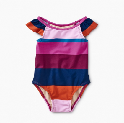 Tea Collection Cabana Stripe One Piece Snapdragon