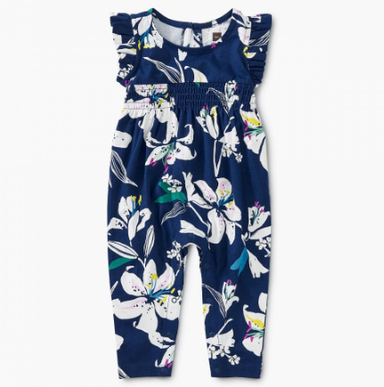 Tea Collection Tropical Lillies Flutter Romper