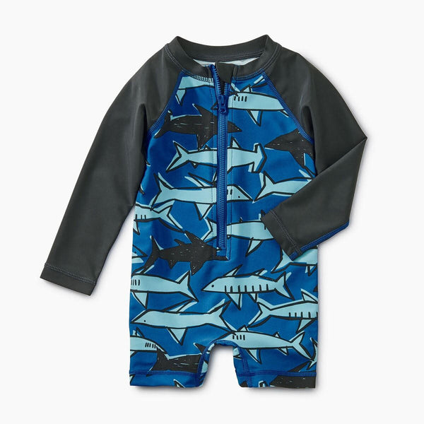 Tea Collection Printed Shortie Rash Guard Sharks