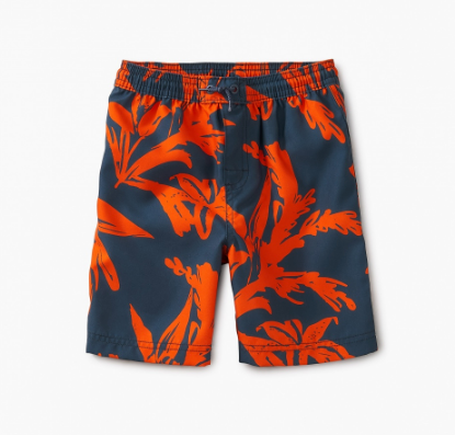Tea Collection Pattern Swim Trunks Sea Flora