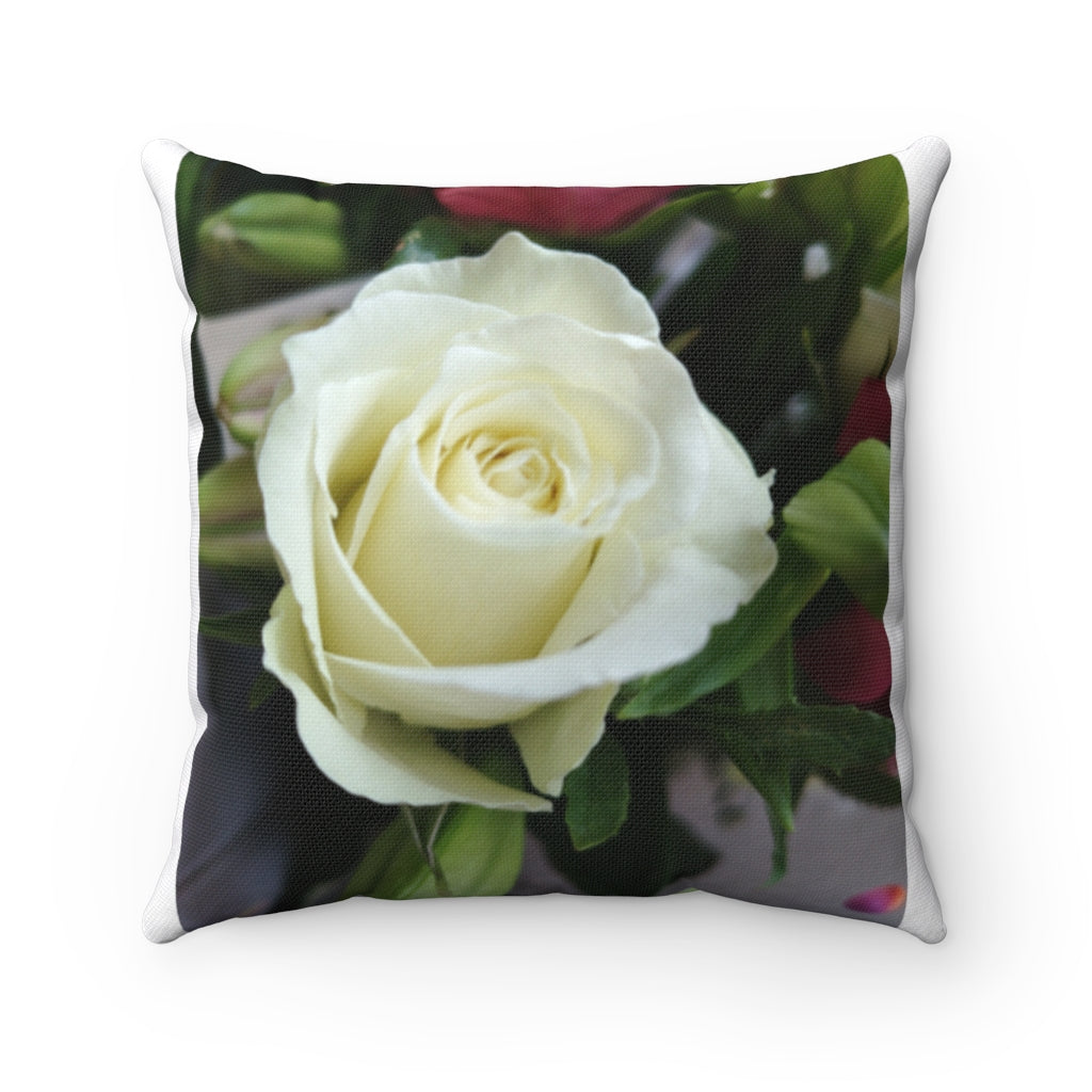 White Rose Spun Polyester Square Pillow
