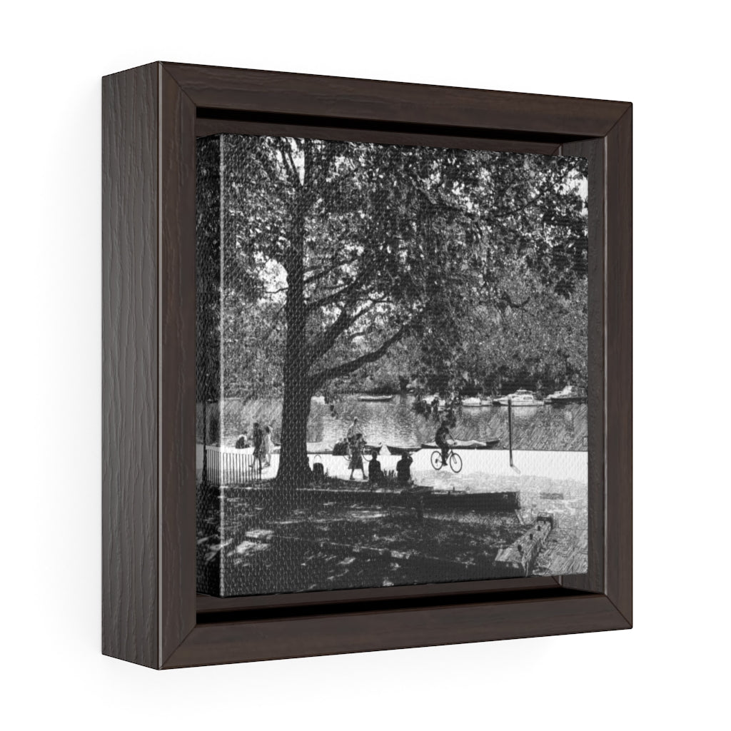 The River Thames - Square Framed Premium Gallery Wrap Canvas