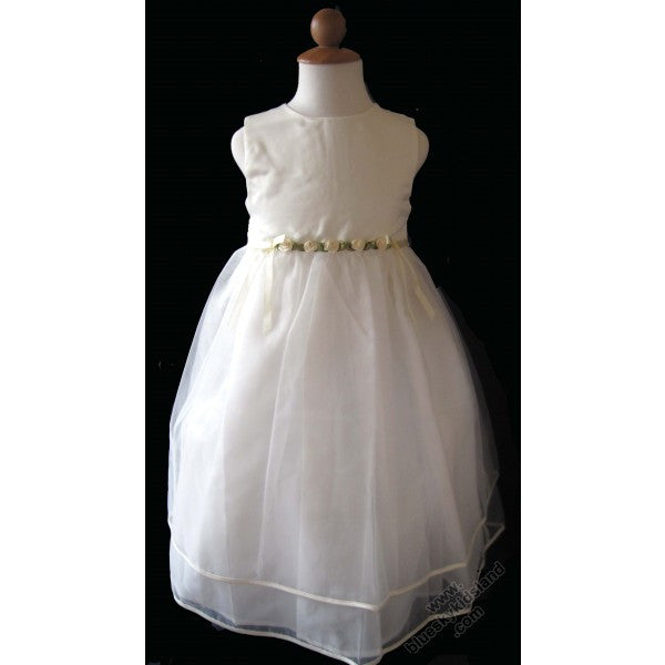 Flower Girls Dress With Satin Rosettes