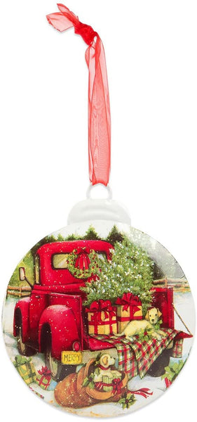 Red Truck Ornament - Rearview