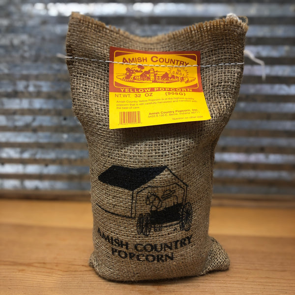 Amish Country Yellow Popcorn Burlap Bag