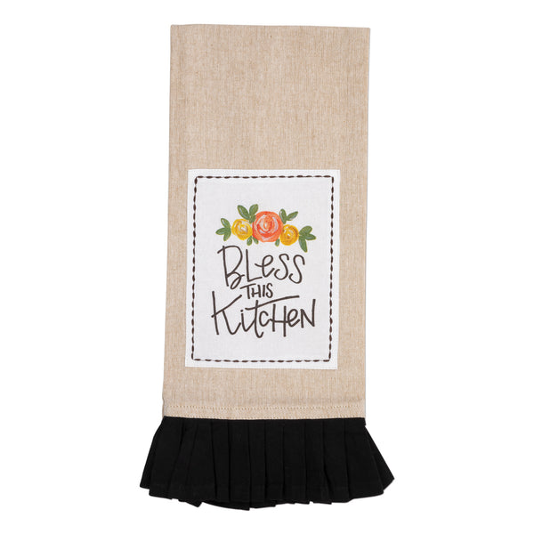 Bless This Kitchen Floral Tan & Black Tea Towel