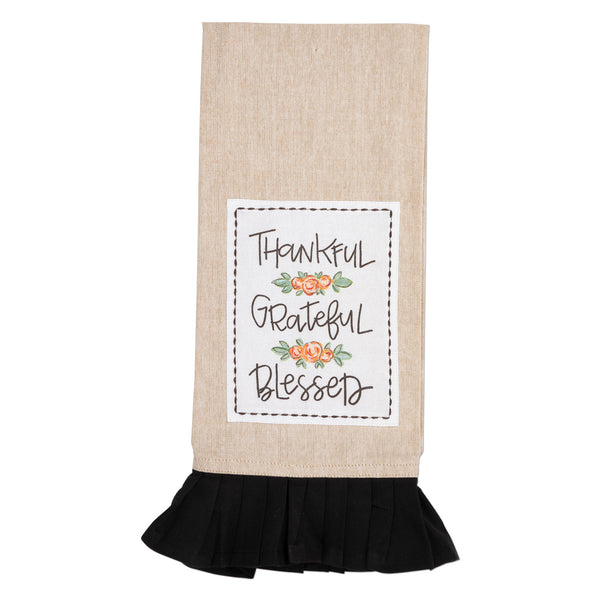 Thankful Grateful Blessed Floral Tan & Black Tea Towel