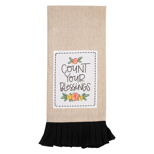 Count Your Blessings Floral Tan & Black Tea Towel