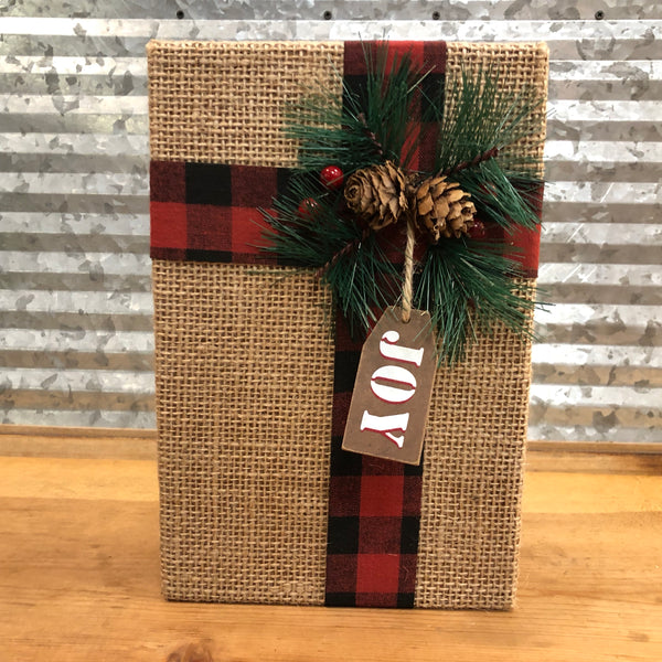 Burlap Joy Block