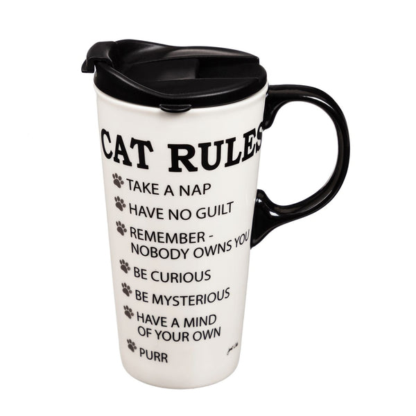 Cat Rules Travel Mug