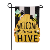 Evergreen Welcome to Our Hive Garden Flag