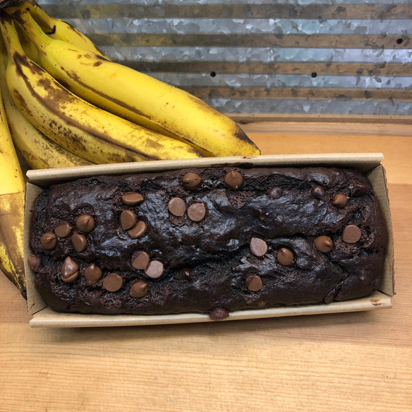 Homemade Double Chocolate Banana Loaf Quick Bread Cake