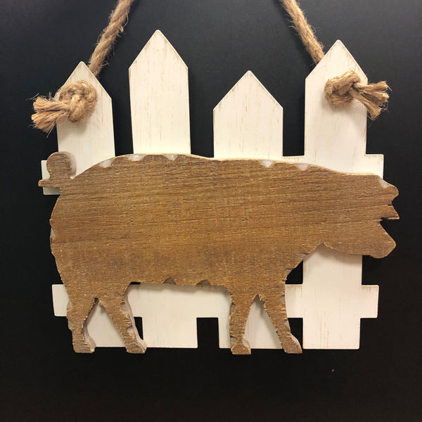 Pig on Fence Wood Wall Hanging