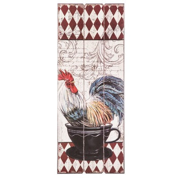 Rooster Teacup Wall Wood Sign
