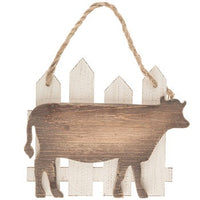 Cow on Fence Wood Wall Hanging