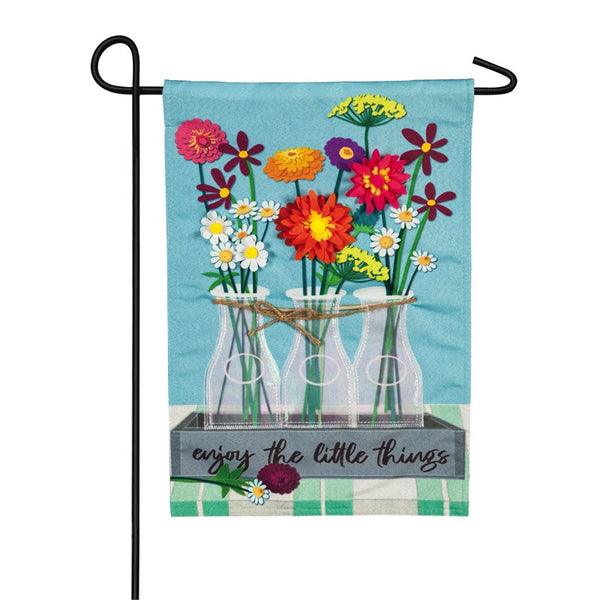 Evergreen Floral Milk Bottles Garden Flag