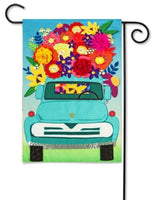 Evergreen Mint Flower Truck Garden Flag