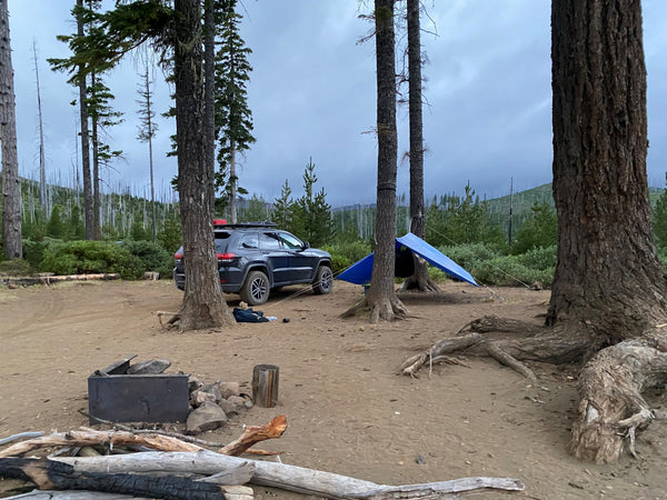 Hammock camping in the high desert forest.