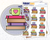 Small Stack of Books with Mug Icon: Reading Planner Stickers Midnight Snack Planner