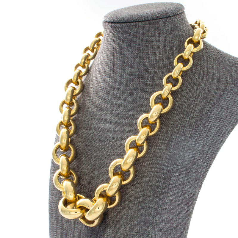14k Yellow Gold Tapered Circle Link Necklace