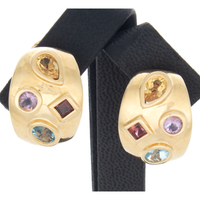 14k Yellow Gold Muti Gemstone Clip Earrings