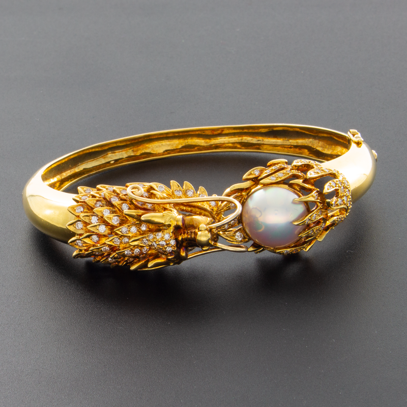"14k Yellow Gold Diamond and Mabe Pearl ""Dragon Chasing the Moon"" Bracelet"