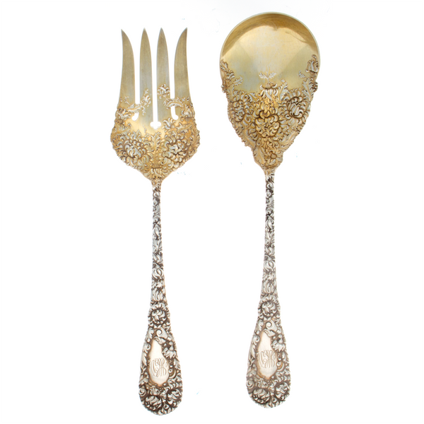 Durgin Chrysanthemum Sterling Silver 2 Piece Salad Set