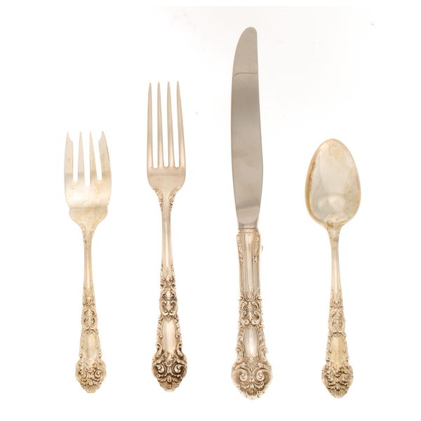 French Renaissance 4 Piece Sterling Silver Place Size Setting Modern Blade