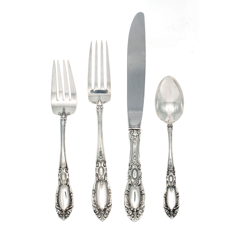 King Richard Sterling Silver 4 Piece Dinner Size Setting with Modern Blade Knife
