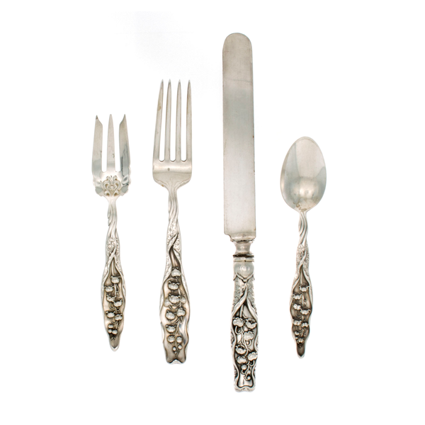 Lily of The Valley Sterling Silver 4 Piece Dinner Size Setting with Pastry Fork