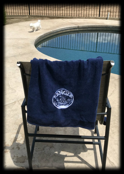 Sanger Boats Navy Velour Towel