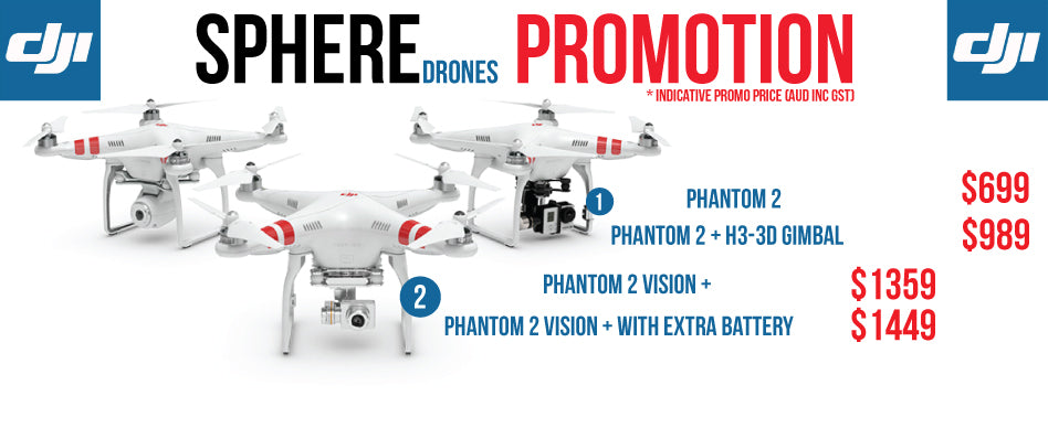 SPHERE is proud to announce an exclusive price drop of the DJI Phantom 2 Range.