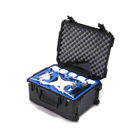 Go Professional - DJI Phantom 4 Pro Compact Wheeled Case  (FITS ALL P4 MODELS) Props on